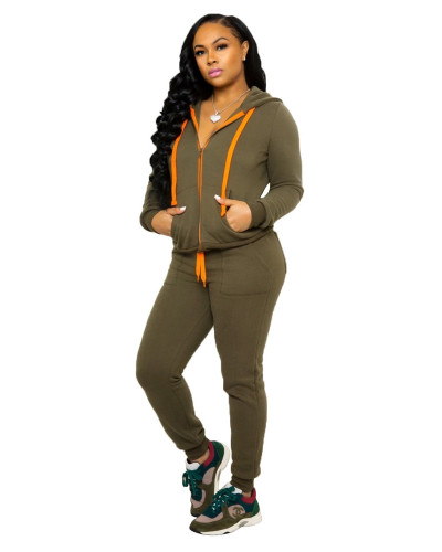Army green Plush long sleeve thick sweater pocket trousers casual two-piece suit