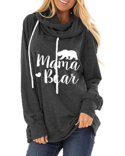 Gray Letter print loose round neck long sleeve t-shirt