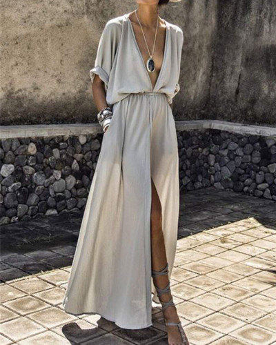 White Deep V sleeve slit dress