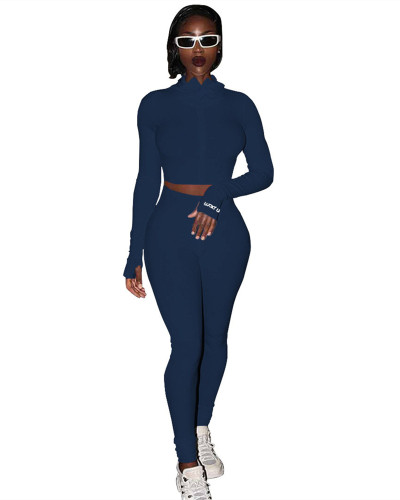 Drak Blue Sexy casual two-piece suit