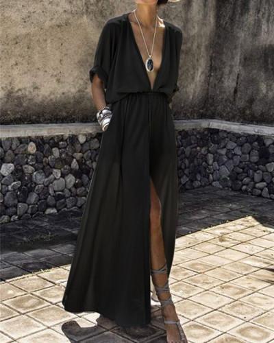 Black Deep V sleeve slit dress