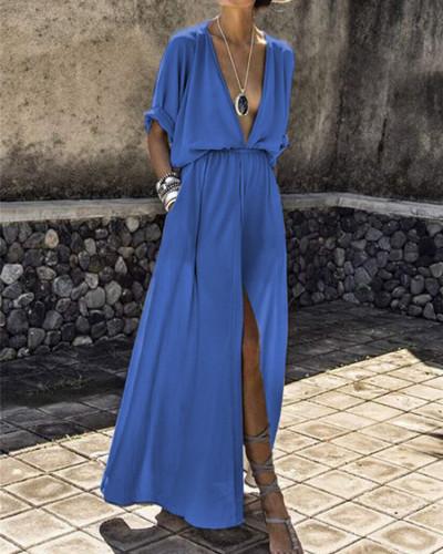 Blue Deep V sleeve slit dress