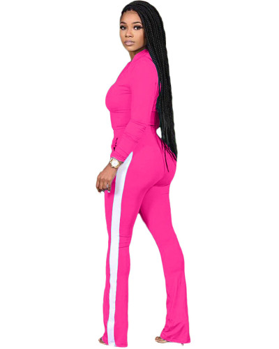 Rose red Two-piece sports suit with zipper sweater and tights