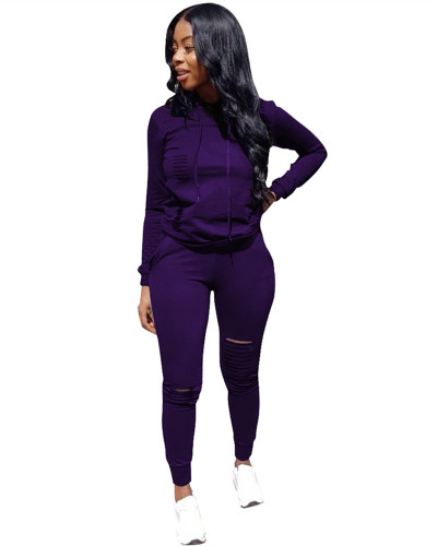 Purple Sports solid color burnt flower two-piece sweater