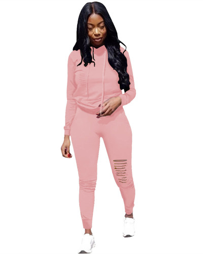 Pink Sports solid color burnt flower two-piece sweater