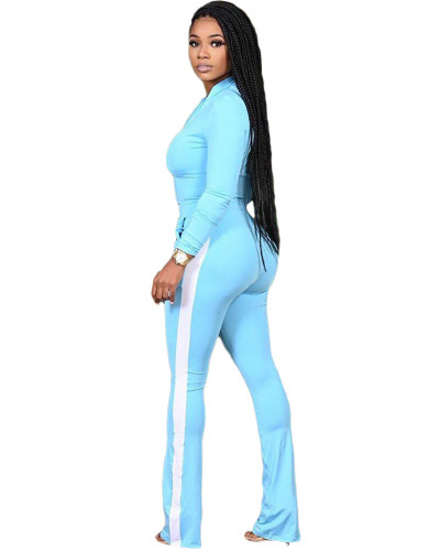Light bule Two-piece sports suit with zipper sweater and tights