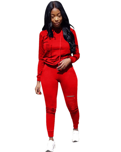 Red Sports solid color burnt flower two-piece sweater