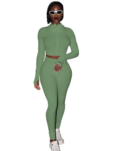 Green Sexy casual two-piece suit