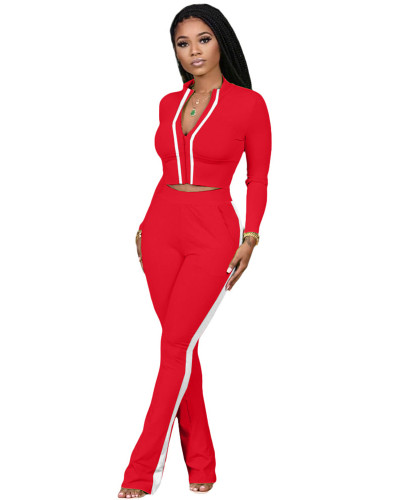 Red Two-piece sports suit with zipper sweater and tights