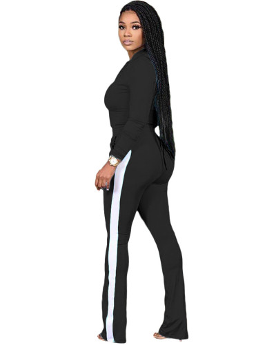 Black Two-piece sports suit with zipper sweater and tights