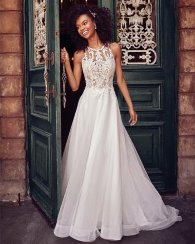 Lace sleeveless halter wedding dress long dress