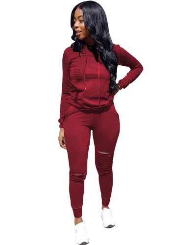 Drak Red Sports solid color burnt flower two-piece sweater