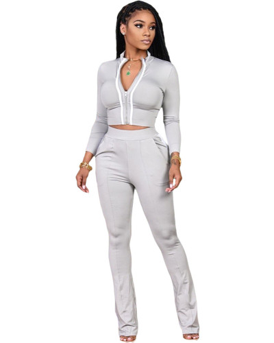GrayTwo-piece sports suit with zipper sweater and tights