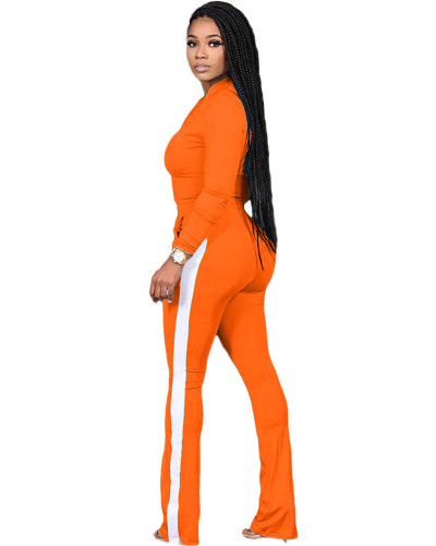Orange Two-piece sports suit with zipper sweater and tights
