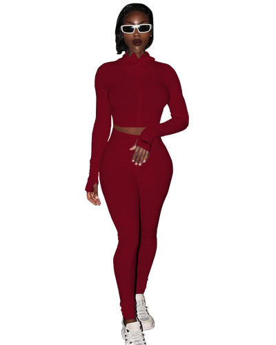 Dark Red Sexy casual two-piece suit