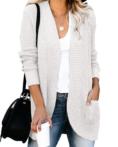 Black Large pocket sweater cardigan with curved placket