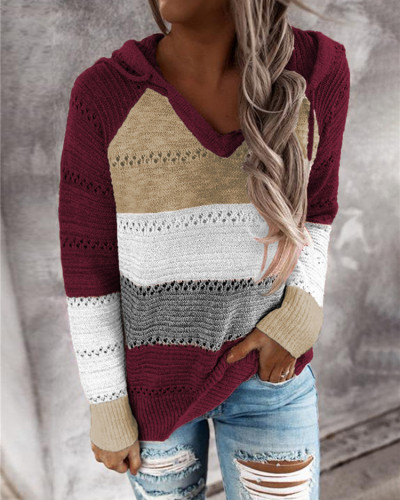Brown Striped stitching ladies drawstring knitted sweater