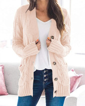 Pink Cardigan coat solid color twist button cardigan sweater
