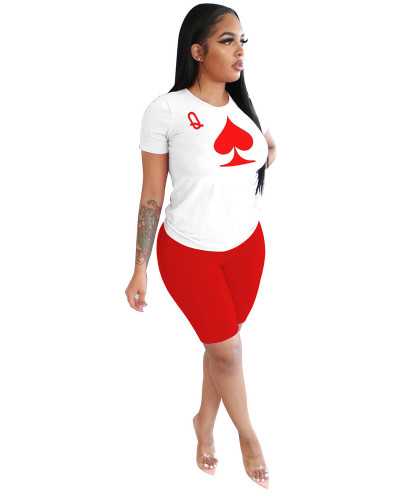 Red Poker element Q letter digital printing summer two-piece suit