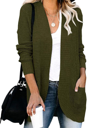 Green Large pocket sweater cardigan with curved placket