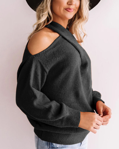 Black Sexy cross wrap chest open back sweater