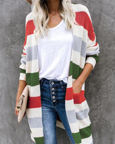 Red Long colorblock pocket knit cardigan