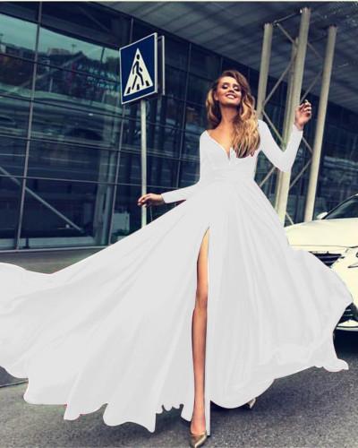 White Sexy Deep V Long Sleeve Dress