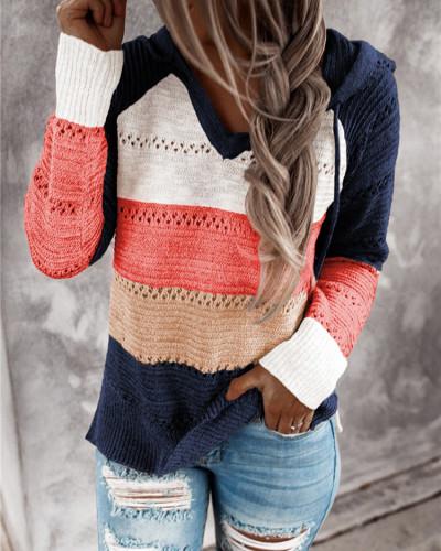 Dark Blue Striped stitching ladies drawstring knitted sweater