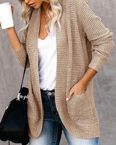 Khaki Large pocket sweater cardigan with curved placket