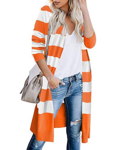 Orange Contrast stripes long cardigan women's sweater