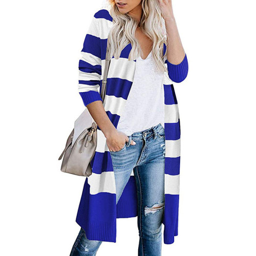 Blue Contrast stripes long cardigan women's sweater