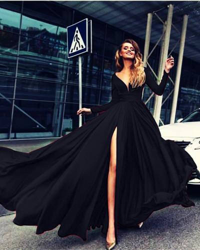 Black Sexy Deep V Long Sleeve Dress