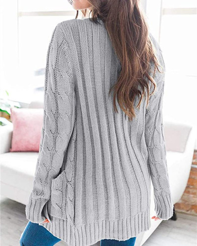 Gray Cardigan coat solid color twist button cardigan sweater