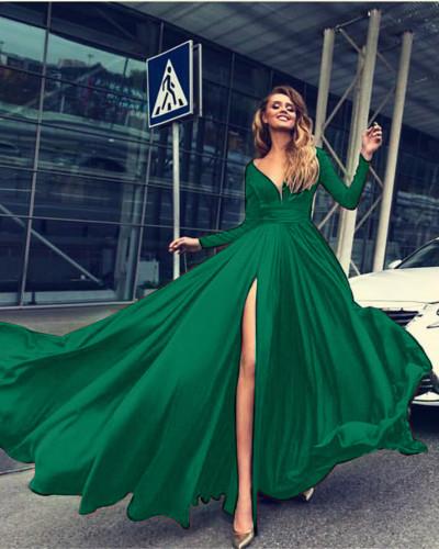 Green Sexy Deep V Long Sleeve Dress