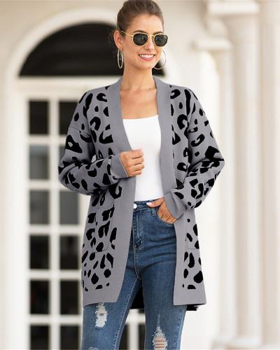 Dark Gray Mid-length leopard-print cardigan sweater