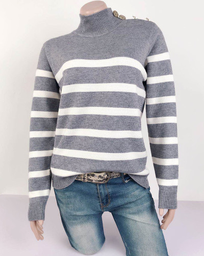 Gray High neck pullover strap studded striped sweater