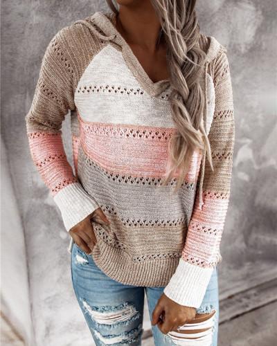Khaki Striped stitching ladies drawstring knitted sweater