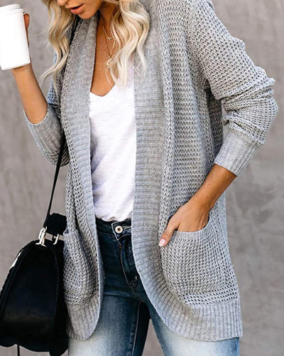 Gray Large pocket sweater cardigan with curved placket