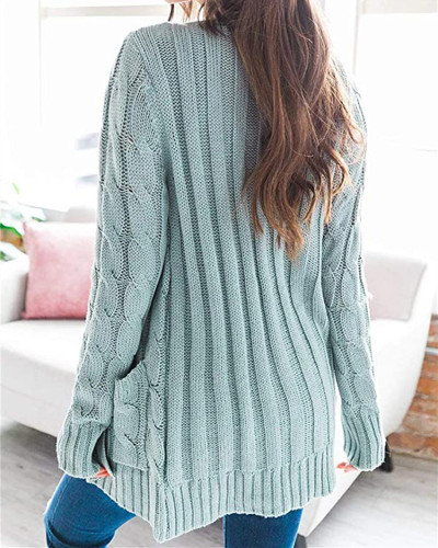Light Green Cardigan coat solid color twist button cardigan sweater
