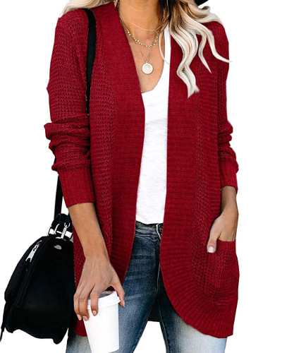Red Large pocket sweater cardigan with curved placket