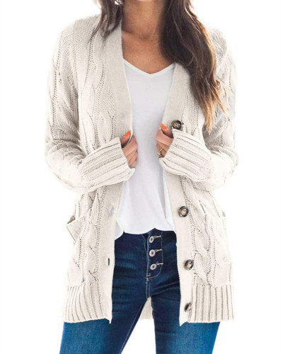 Creamy-white Cardigan coat solid color twist button cardigan sweater