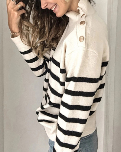 White High neck pullover strap studded striped sweater