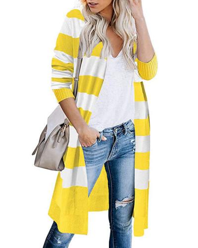 Yellow Contrast stripes long cardigan women's sweater