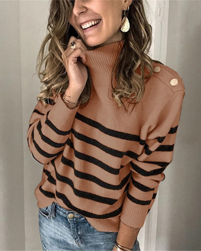 Khaki High neck pullover strap studded striped sweater