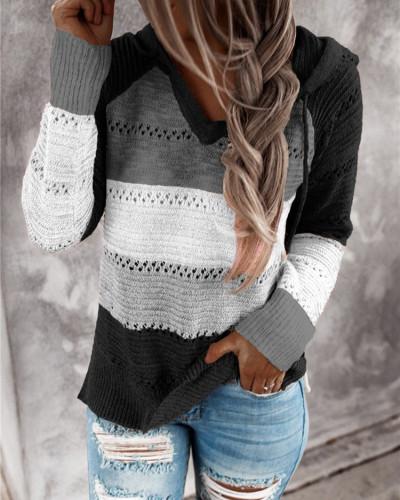 Black Striped stitching ladies drawstring knitted sweater