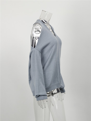 Gray Sexy cross wrap chest open back sweater
