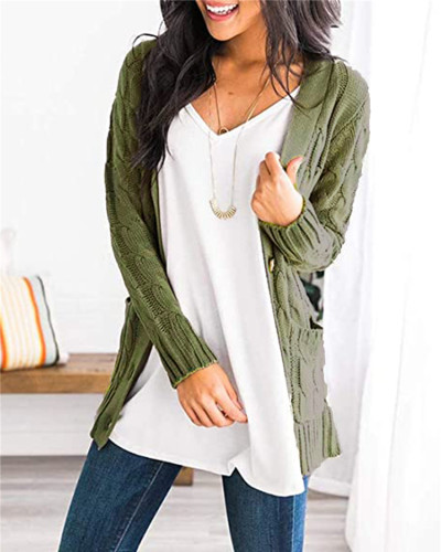 Green Cardigan coat solid color twist button cardigan sweater