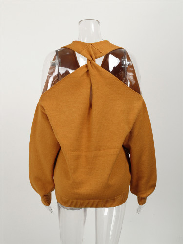 Camel Sexy cross wrap chest open back sweater