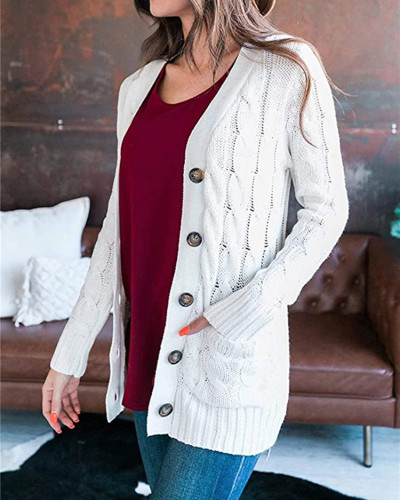 White Cardigan coat solid color twist button cardigan sweater