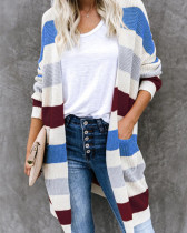Blue Long colorblock pocket knit cardigan